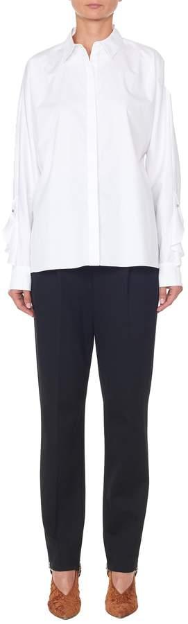 Tibi Satin Poplin Dolman Sleeve Ruffle Shirt