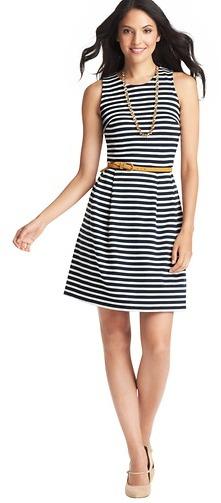 LOFT Striped Cotton Jersey Pleated Skirt Dress