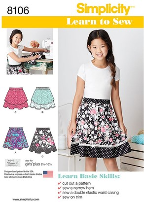 Simplicity Children's Learn To Sew Skirt Sewing Pattern, 8106