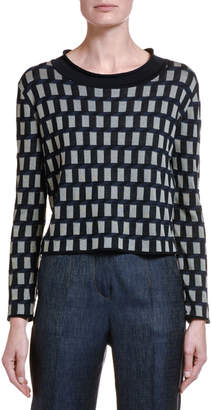 Giorgio Armani Cubist Silk-Cotton Crop Sweater