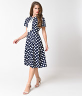 Unique Vintage 1940s Navy Blue & White Polka Dot Lucille Swing Dress