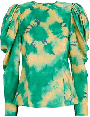 Ulla Johnson Ora Tie-Dyed Silk Blouse