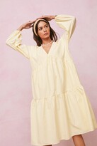 Thumbnail for your product : Nasty Gal Womens Striped Tiered Midi Smock Dress - Yellow - 12