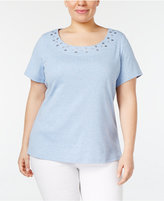 Karen Scott Plus Size Grommet T-Shirt, Created for Macy's