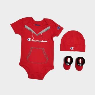Infant Champion Script Logo 3-Piece Bib, Bootie and Bodysuit Set