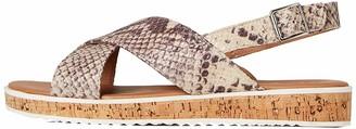 Find. Crossover Cork Sole Leather Flatform Sandals Beige Snake Print) 7 UK