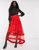 Chi Chi London high low organza maxi skirt in red