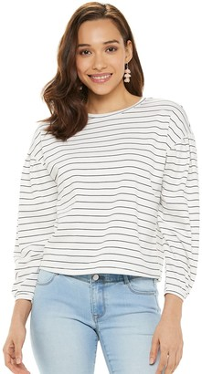 Apt. 9 Petite Pleated Sleeve Crewneck Sweatshirt