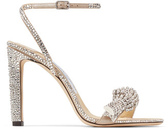 Jimmy Choo THYRA 100 Nude Suede Sandals with Pave Crystal Cord Detail