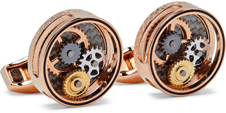 Tateossian Skeleton Gear Rose Gold-Plated, Carbon Fibre and Enamel Cufflinks - Men - Gold