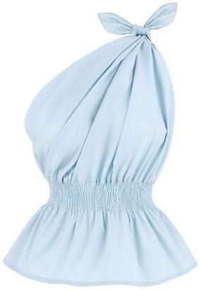 Monica Nera Demi One Shoulder Baby Blue Top