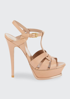 Saint Laurent Tribute Leather Stiletto Sandals