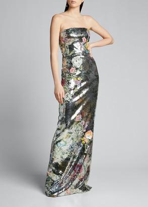 Monique Lhuillier Strapless Botanical-Print Sequined Gown