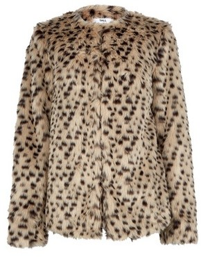 Dorothy Perkins Womens Tall Brown Leopard Print Curved Edge To Edge Coat, Brown