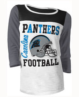 5th & Ocean Women's Carolina Panthers Three-Quarter Glitter T-Shirt