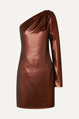 Victoria Victoria Beckham Victoria, Victoria Beckham - One-shoulder Lurex Mini Dress - Copper