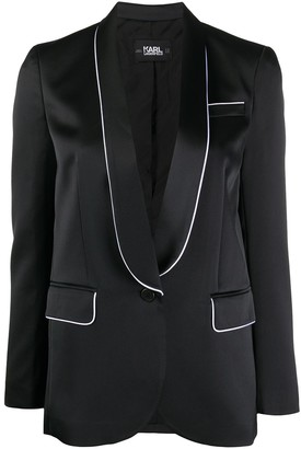 Karl Lagerfeld Paris Piped-Trim Satin Blazer