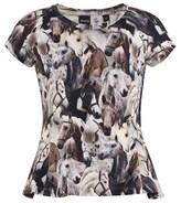 Molo Horse Print Peplum T-Shirt