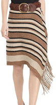 Polo Ralph Lauren Fringe-Trimmed Knit Wrap Pattern Silk and Leather Skirt