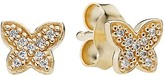 Pandora Earrings - 14k Gold & Cubic Zirconia Petite Butterfly Studs