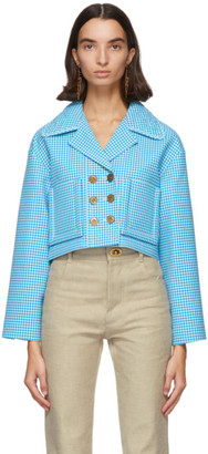 Fendi Blue and White Wool Vichy Jacket