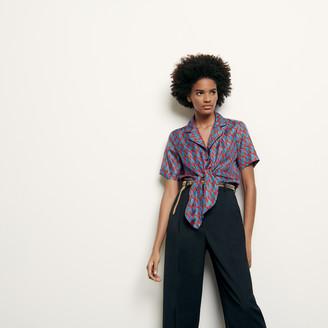 Sandro Printed silk pajama shirt