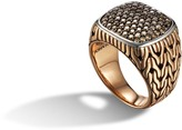 John Hardy Classic Chain Signet Ring with Diamonds