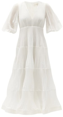 Zimmermann Puff-sleeve Plisse-voile Midi Dress - Ivory