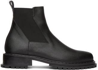 Solid Homme Black Textured Leather Chelsea Boots