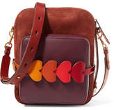 Anya Hindmarch Stack Camera Nubuck And Leather Shoulder Bag - Burgundy