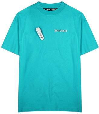 Palm Angels Turquoise logo cotton T-shirt
