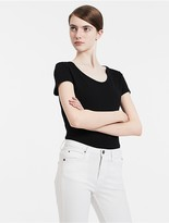 Calvin Klein Fitted Cotton Lyocell V-Neck T-Shirt