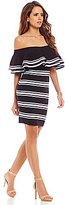 Gianni Bini Kylie Striped Off The Shoulder Ruffle Sheath Dress