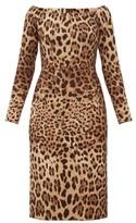 Dolce & Gabbana Leopard-print Off-the-shoulder Wool-crepe Dress - Womens - Leopard