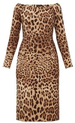 Dolce & Gabbana Leopard-print Off-the-shoulder Wool-crepe Dress - Leopard
