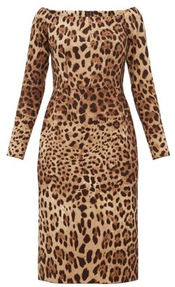 Dolce & Gabbana Leopard-print Off-the-shoulder Wool-crepe Dress - Womens - Leopard