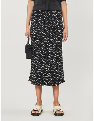 Rails London high-waist polka dot crepe midi skirt