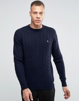 Jack Wills Merino Jumper In Cable Navy