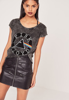 Missguided Pink Floyd T Shirt Washed Grey