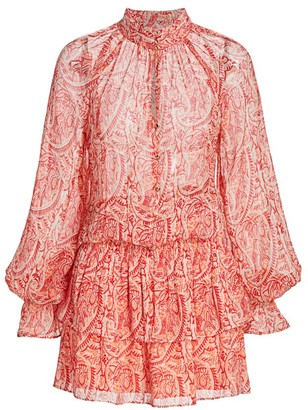 Ramy Brook Paisley Printed Ruffle Mini Dress