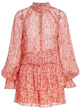 Ramy Brook Paisley Printed Ruffle Mini Dress