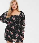 In The Style Plus In The Style x Fashion Influx Plus puff sleeve mini dress in floral print