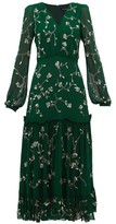 Saloni Devon Sequin Floral-embroidered Midi Dress - Womens - Dark Green