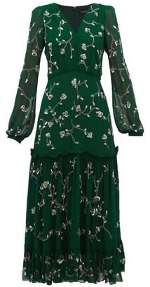 Saloni Devon Sequin Floral-embroidered Midi Dress - Womens - Dark Green