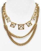 """Rebecca Minkoff Pyramid Cut-Out Statement Necklace, 18"""""""