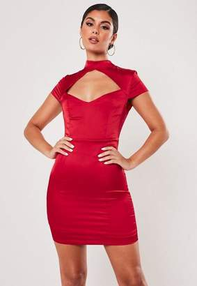 Missguided Red Satin High Neck Cut Out Mini Dress