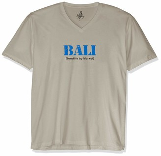 Marky G Apparel Men's Bali Graphic Sueded V-Neck T-Shirt