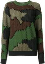 Moschino camouflage contrast knit sweater