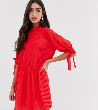 Asos Tall DESIGN Tall pleated trapeze mini dress with tie sleeves-Red