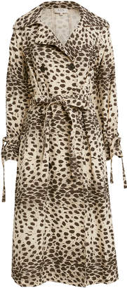 Sea Leo Leopard Double Breasted Trench Coat